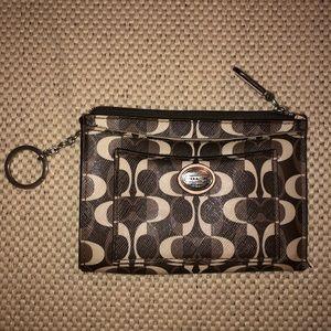 Coach brown and tan key chain wristlet